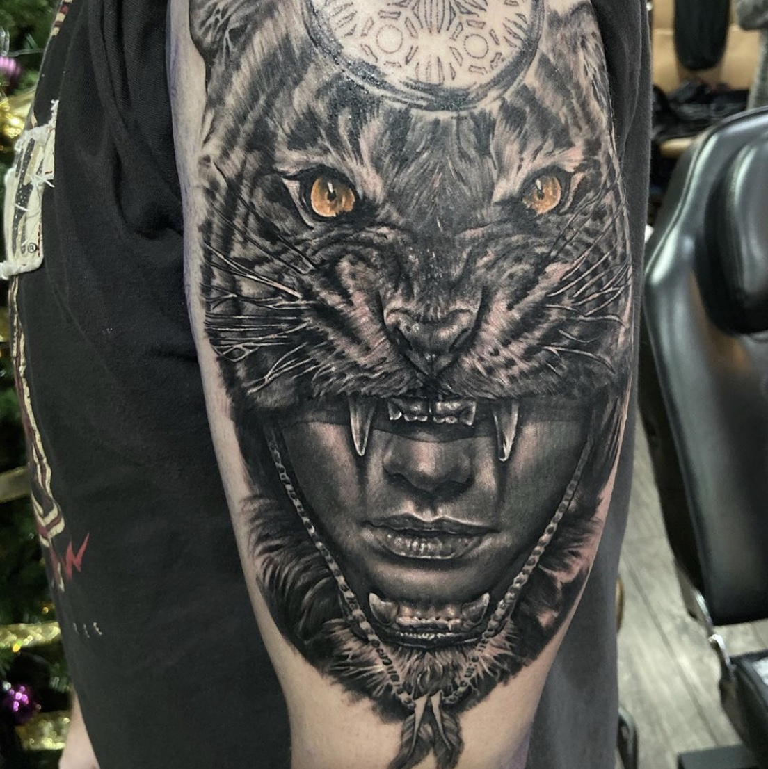 Woman and Tiger Realism Tattoo by Luke