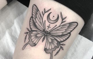 Black and Grey Butterfly Tattoo by Fiona
