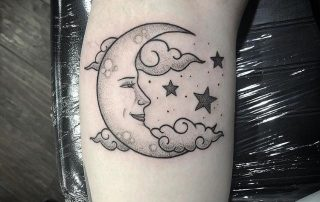 Feminine Moon Tattoo by Fiona