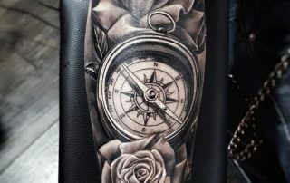Compass and Roses Tattoo by Clayton