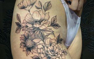 Black and Grey Floral Tattoo by Marianthi