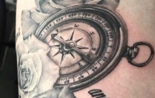 Black and Grey Compass Floral Tattoo by Liberty