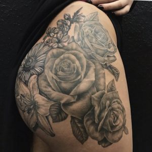 Black and Grey Realism Roses Tattoo by Liberty