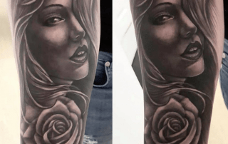 Lady with Rose Hair Tattoo by Mike