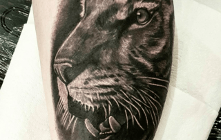 Black and Grey Realism Tiger Tattoo by Mike
