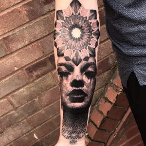 Dotwork realism merge tattoo