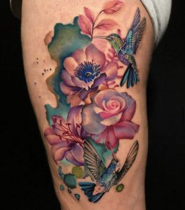 Floral Hummingbird Tattoo by Jamaine