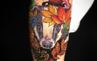 Autumn Raccoon Tattoo by Jamaine