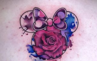 Minnie Mouse Watercolor Tattoo by Jamaine