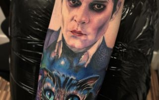 Barnabas Collins and Cheshire Cat Tattoo by Jamaine