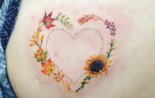 Floral and Autumn Leaves Tattoo by Jamaine