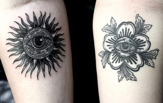 All Seeing Eye Sun and Flower Tattoo by Rosie