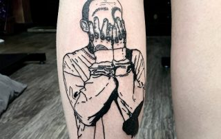 Frustrated Man Linework Tattoo by Rosie