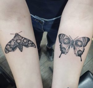 Moth Butterfly Black and Grey Tattoo by Dan H
